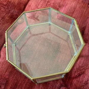 Vintage brass glass terrarium